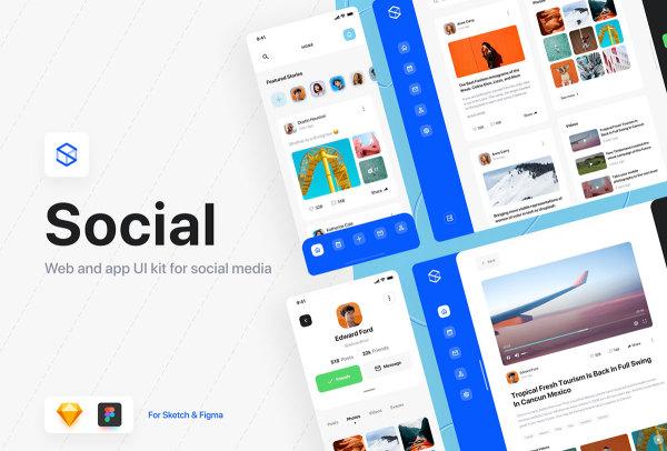 社交仪表板UI套件 含25个Web界面和25个移动APP界面