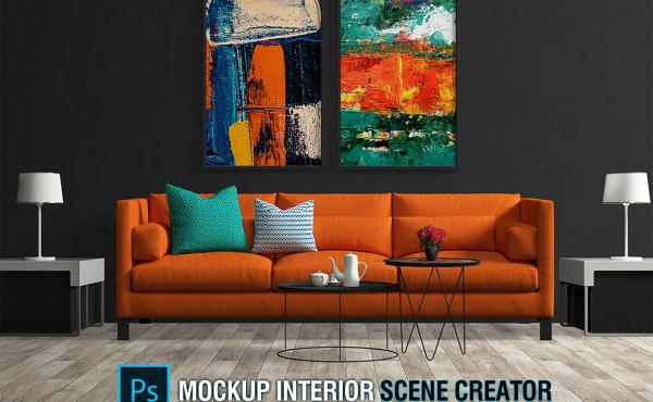 室内客厅场景样机模型 2套家具|2套地板|2套墙壁|5套画框