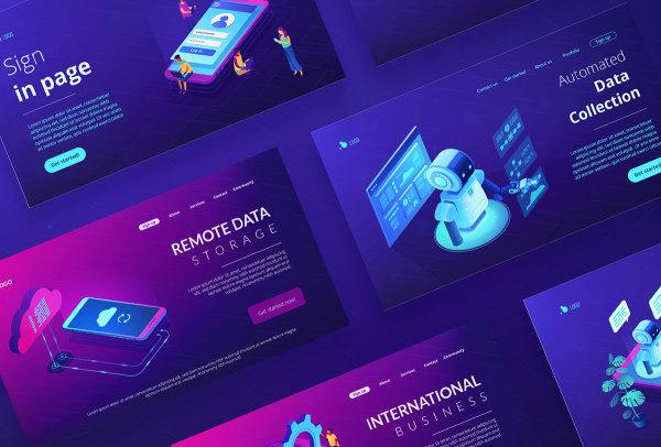 6个技术等距和机器人概念的紫外线创意插画(AI、EPS)