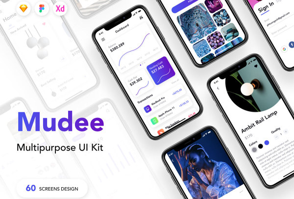 Mudee 多功能UI套件 含60个iOS移动应用程序屏幕布局