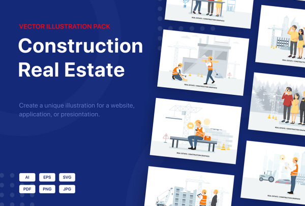 Pisces房地产建筑施工场景矢量插画 可用于网站 APP 文稿