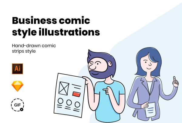手绘矢量连环画风格 商业插画素材 含11幅插画和5幅动画