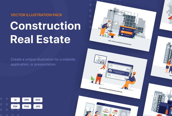 房地产和建筑场景矢量插画 可用于网站 APP界面 演示文稿