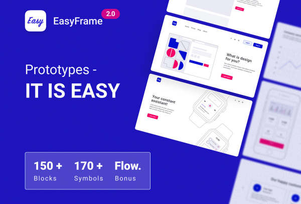EasyFrame 2.0多用途Web网站线框图套件 含150多个模块