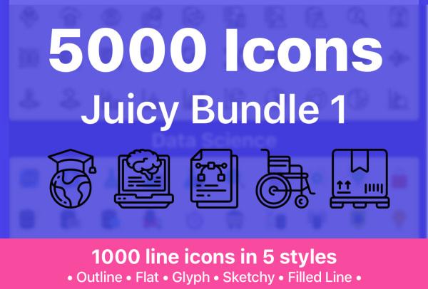 5000个多用途矢量图标素材 含24种不同类别 适用任何项目
