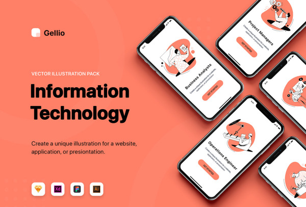 10个信息技术场景插画 可用于各类网站的设计 APP引导页