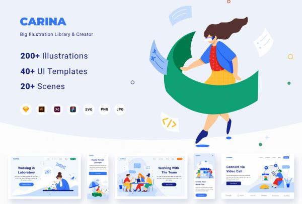 Carina人物场景矢量插画库 可用于各类Web页面 移动APP