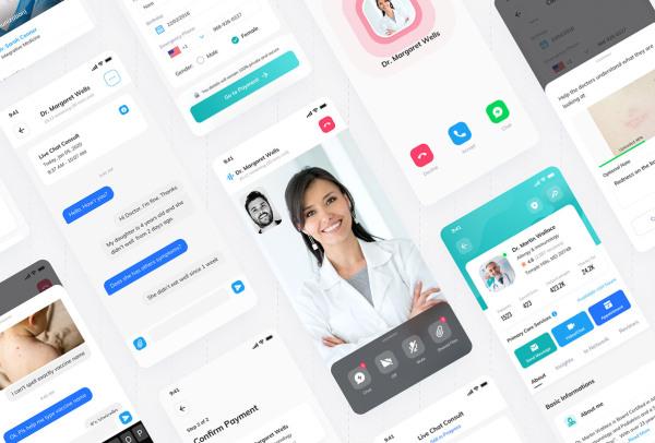 在线医疗服务|健康问题咨询|预约|护理 患者端 APP UI套件