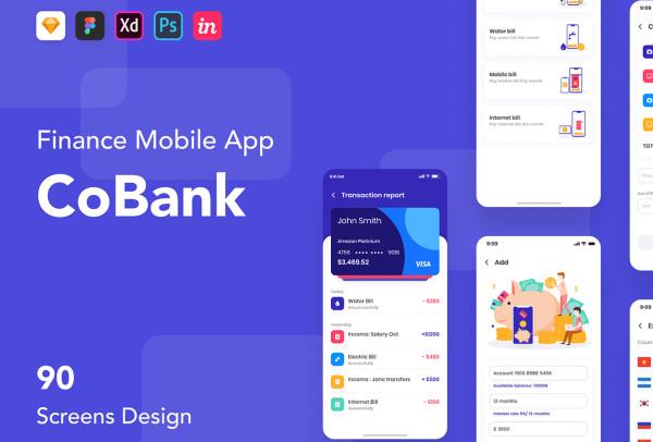金融移动应用程序UI套件 可用于银行|财务|钱包|预算规划