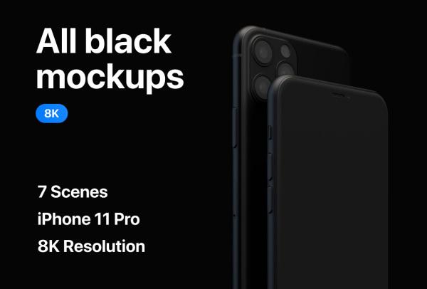华丽的全黑iPhone 11 Pro设备样机素材 7个高分辨率样机