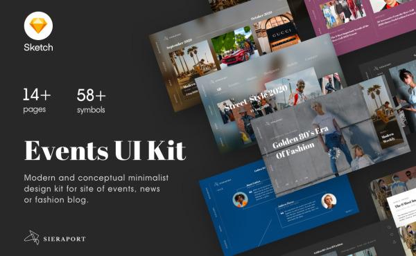事件发布网站UI设计模板 用于活动网站|新闻网站|时尚博客