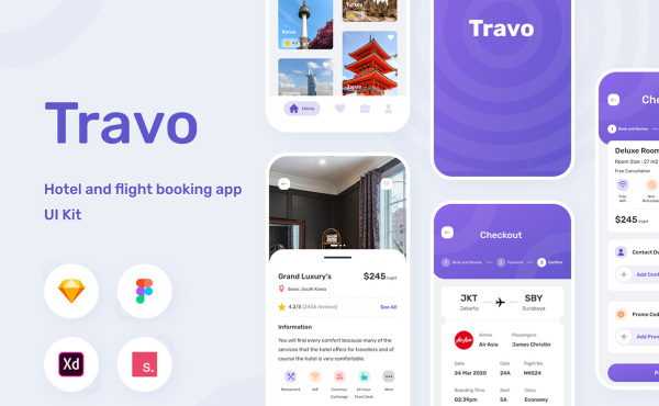 旅行航班和酒店预订的移动应用程序UI Kit 含43个屏幕布局