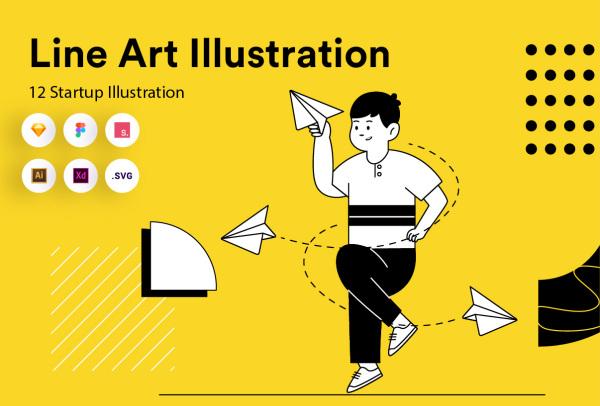 简洁的线性风格人物场景矢量插画素材 含12幅艺术线条插画