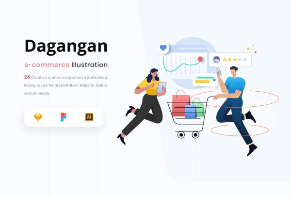 创意的电子商务购物场景矢量插画素材 含24幅渐变风格插画
