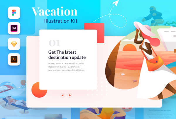有趣的度假休闲主题人物场景插画素材 含15幅高质量插画