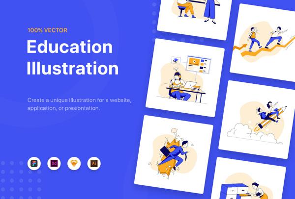 学校教育培训类 人物学习场景矢量插画素材 10多幅精美插画