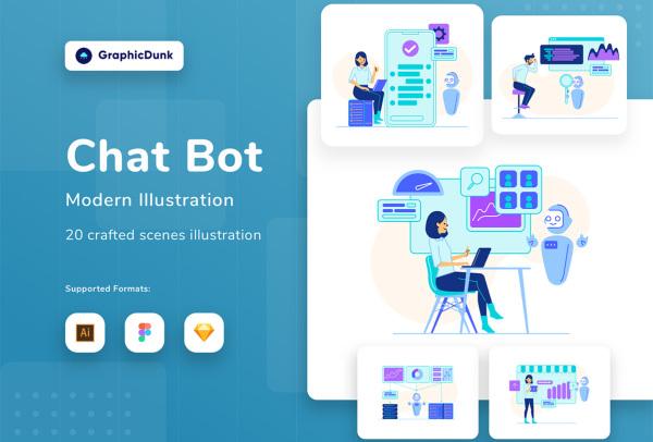 20幅高质量的聊天机器人 AI人工智能应用场景矢量插画素材