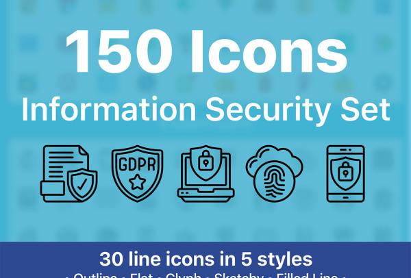 网络信息安全设置矢量图标素材 150个图标 含5种样式风格