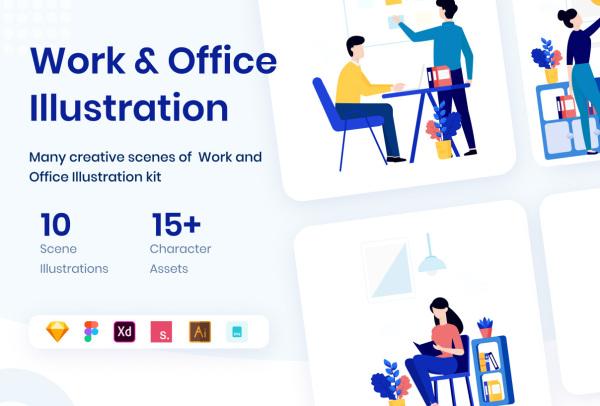办公室人物日常工作场景 矢量插画素材 含10幅精美的插画