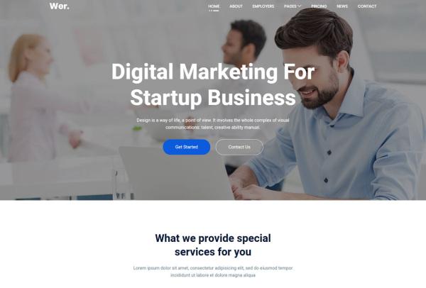 简洁干净的公司企业Web网站 HTML模板 含9个HTML页面