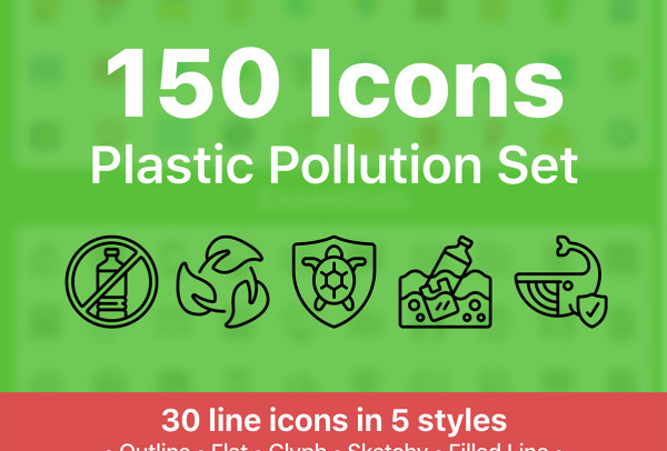 生态环保类 塑料污染矢量图标素材 150个图标 5种样式风格
