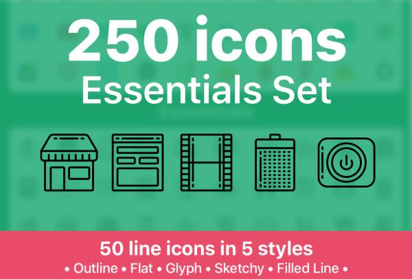 250个精美的矢量图标素材 共有5种样式 适用任何设计项目