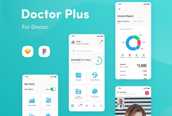 在线医疗服务|健康问题咨询|预约|护理 医生端 APP UI套件