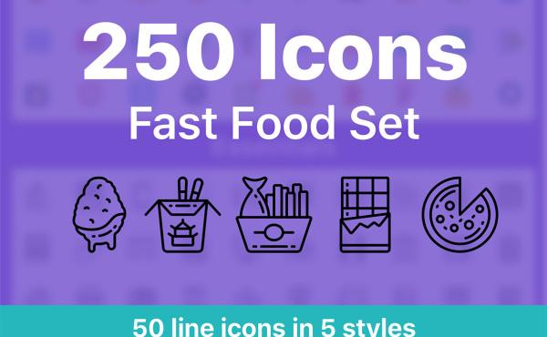 丰富的快餐小吃矢量图标素材 共250个图标 含5种样式风格