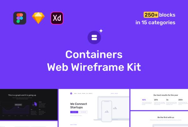 高质量的Web网站线框图套件 含15个类别和250多个模块