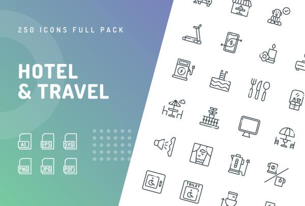 250个优质的酒店与旅行矢量图标素材 5种样式含彩色和单色