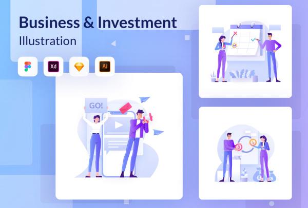 商业金融与投资创业人物场景插画素材 20幅高质量矢量插画