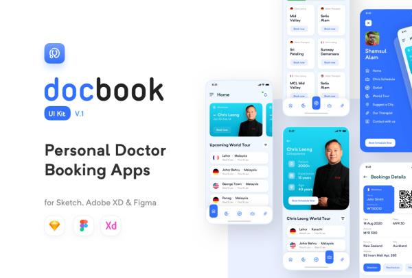 私人医生在线预约看病 移动应用程序UI套件 含25个屏幕布局
