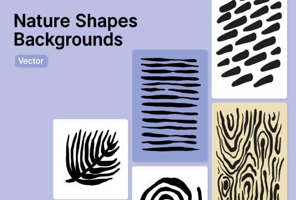 手工绘制的一组自然形状 矢量插画背景素材 25种精美插画