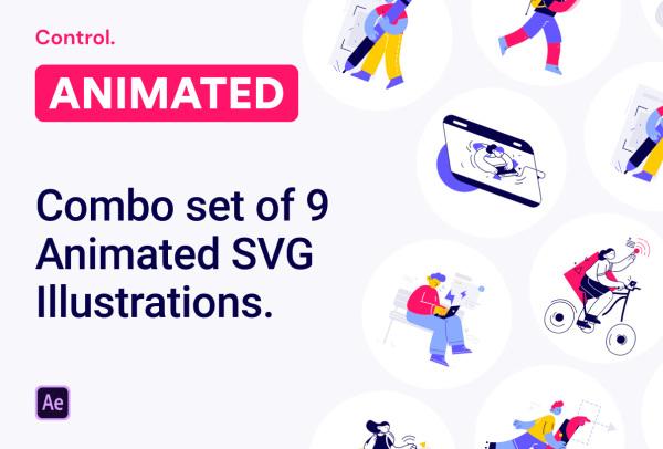 高质量的人物动画场景矢量动态插画素材 含9个动画和插画