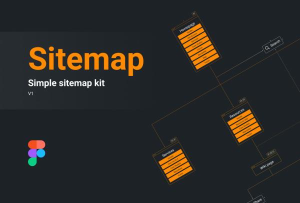 一个简单的站点地图结构示例线框套件 4个示例 含明暗模式