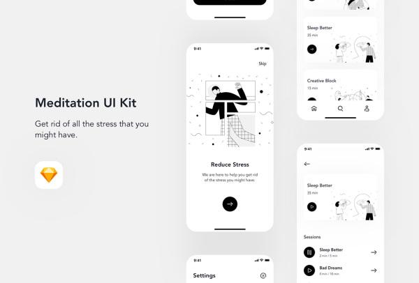 Relax.io 1.0 极简的冥想移动应用UI套件 含15个UI设计布局