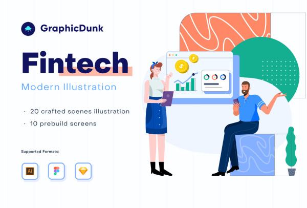 金融科技和商业投资 人物场景矢量插画素材 20幅高品质插画