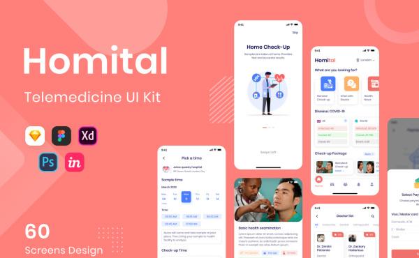 Homital 远程医疗服务 移动应用UI套件 含60个UI设计布局