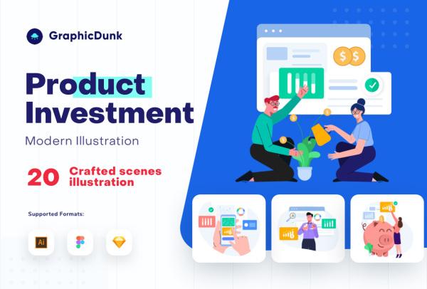 产品投资|创业投资 人物场景矢量插画素材 20幅高质量插画