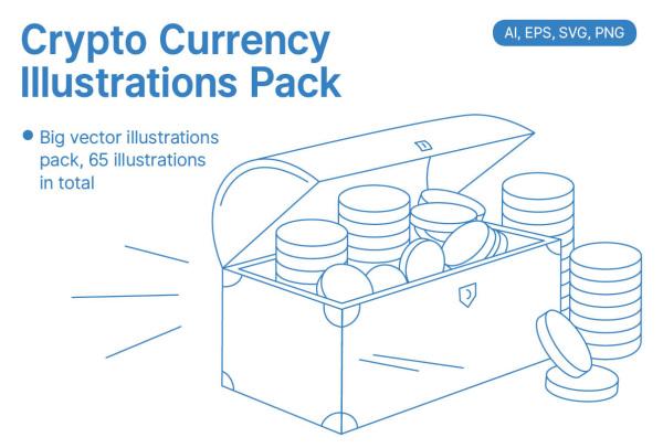 银行金融类加密货币矢量插画素材 65个简洁的线性风格插画