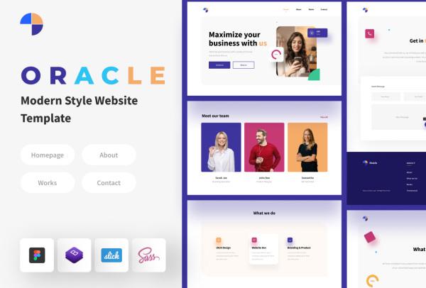 Oracle 现代风格的网页模板 PC和移动端HTML响应式网页