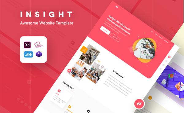 Insight 单页面UI模板 自适应PC和移动端HTML响应式网页