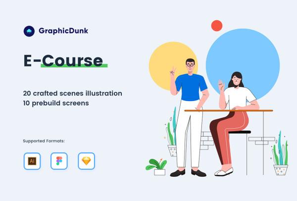 教育类 网络在线课程 人物场景矢量插画素材 20幅精美插画