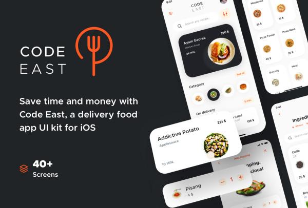 时尚的餐厅送餐|外卖点餐配送 移动应用UI套件 48个UI布局