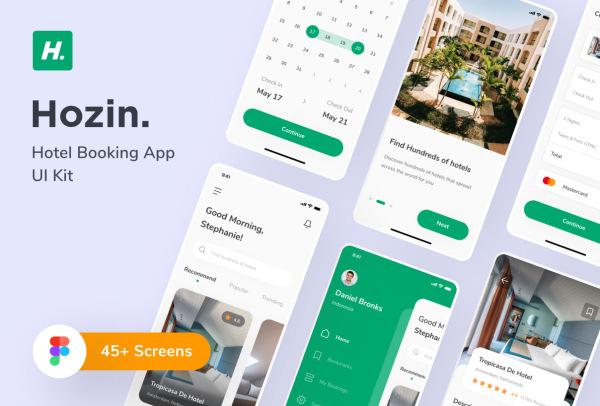 Hozin 酒店查找和预订 移动应用UI套件 含47个UI设计布局