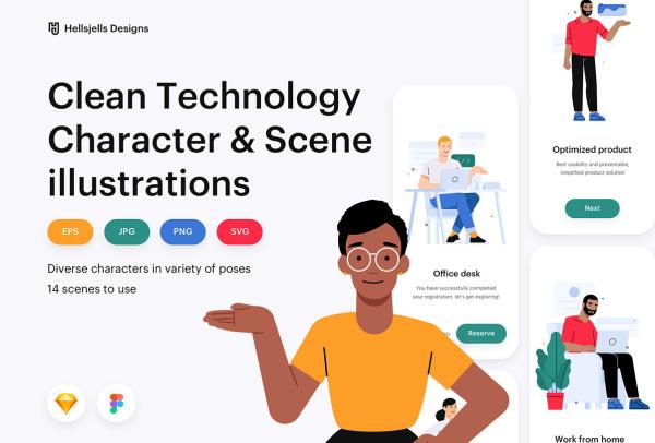 精心制作的人物场景矢量插画素材 含8个人物角色和6个场景