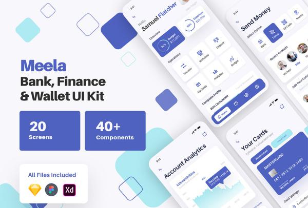 汇款/银行/金融/电子钱包 移动应用UI套件 25个UI设计布局