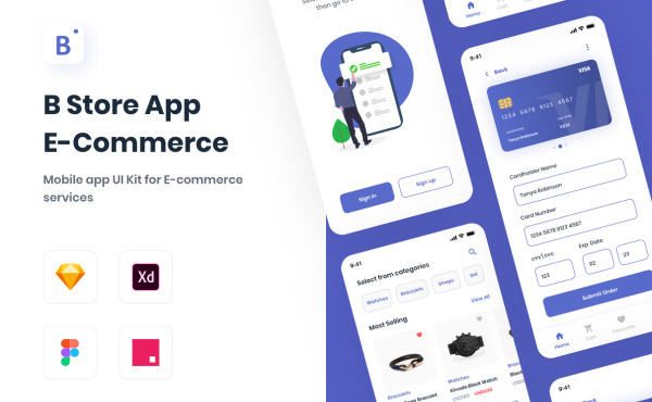 B Store App 电子商务移动商城应用UI套件 24个UI设计布局