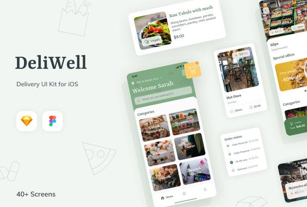 美食商城 在线购物 电商类移动应用UI套件 41个UI设计布局