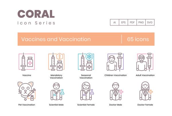 65个有关疫苗/疫苗接种人工免疫 矢量图标素材 Coral系列